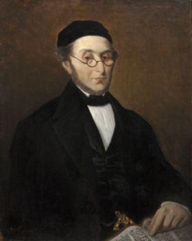 Jozef Israëls (1824 Groningen - 1911 Den Haag) Portret van Samuel Juda Oppenheim Olie op doek Legaat Mr. N.J. Polak, Den Haag