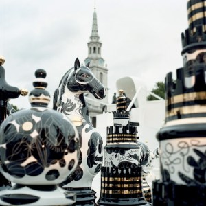 2m high ceramic chess pieces on a specially created Bisazza mosaic glass chess board. © Jaime Hayon