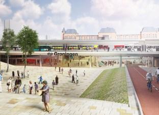 Groningen Spoorzone - Impressie van hoe de zuidentree van het Hoofdstation er mogelijk uit komt te zien.