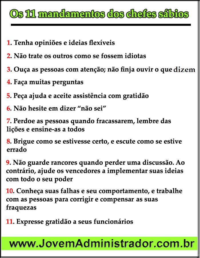 11 mandamentos chefes