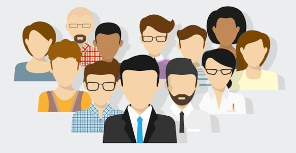 Vector illustration of project team. Flat avatars