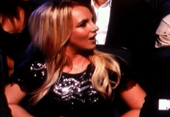 "Britney with her ""WTF"" face when she saw Jo Calderone on stage"