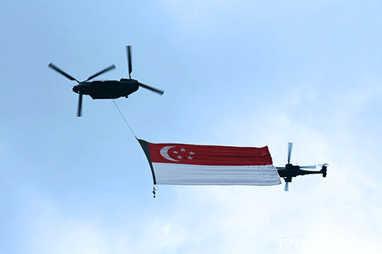 Flag-bearing RSAF Chinook, Singapore 50th National Day Parade, #SG50