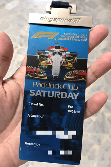 2018 Formula 1 Singapore Airlines Singapore Grand Prix Paddock Pass
