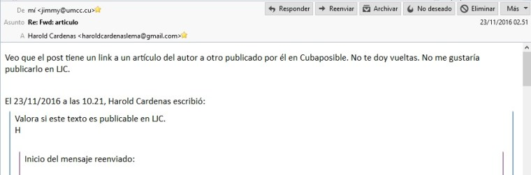Intercambio de correos entre miembros de LJC consultando antes de publicar.