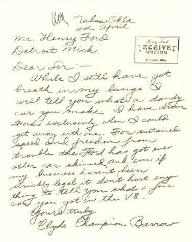 (Carta de Clyde a Henry Ford)