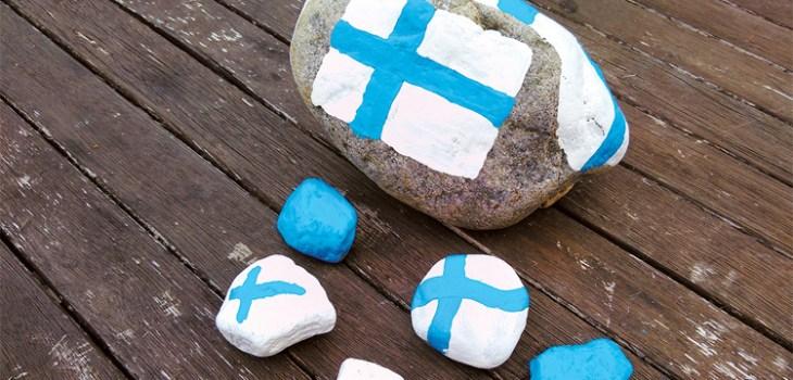JoviDecor kivien maalaus - suomenlippu
