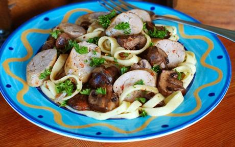 Sausage and mushrooms
