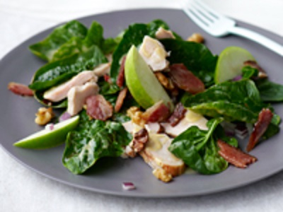Spinach Salad with Smoked Chicken:: Apple:: Walnuts:: and Bacon