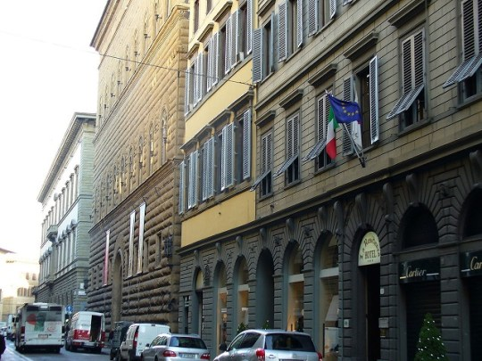 The Via de' Tornabuoni in Florence, the city's top fashion and shopping street,