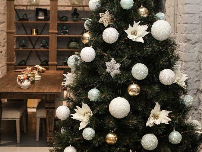 елка украшенная шарами