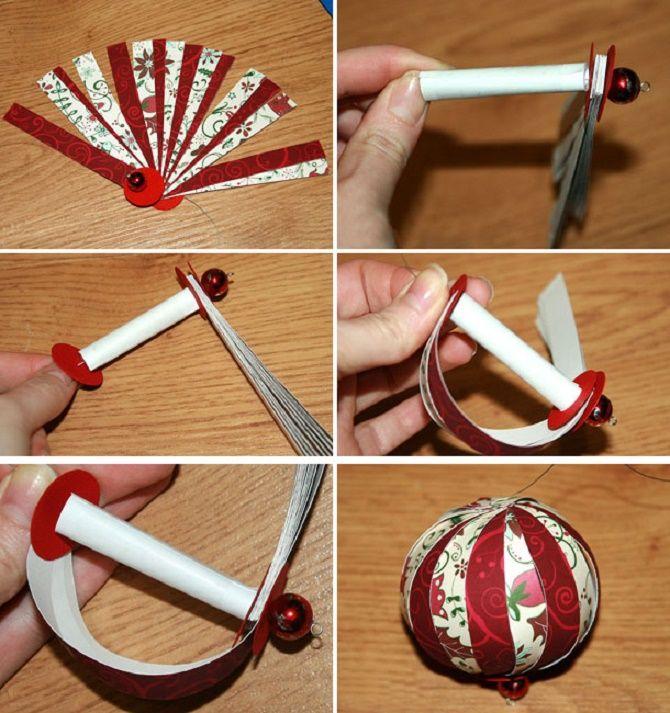Bellissimi e insoliti giocattoli di albero di Natale da carta - come fare le tue mani 16