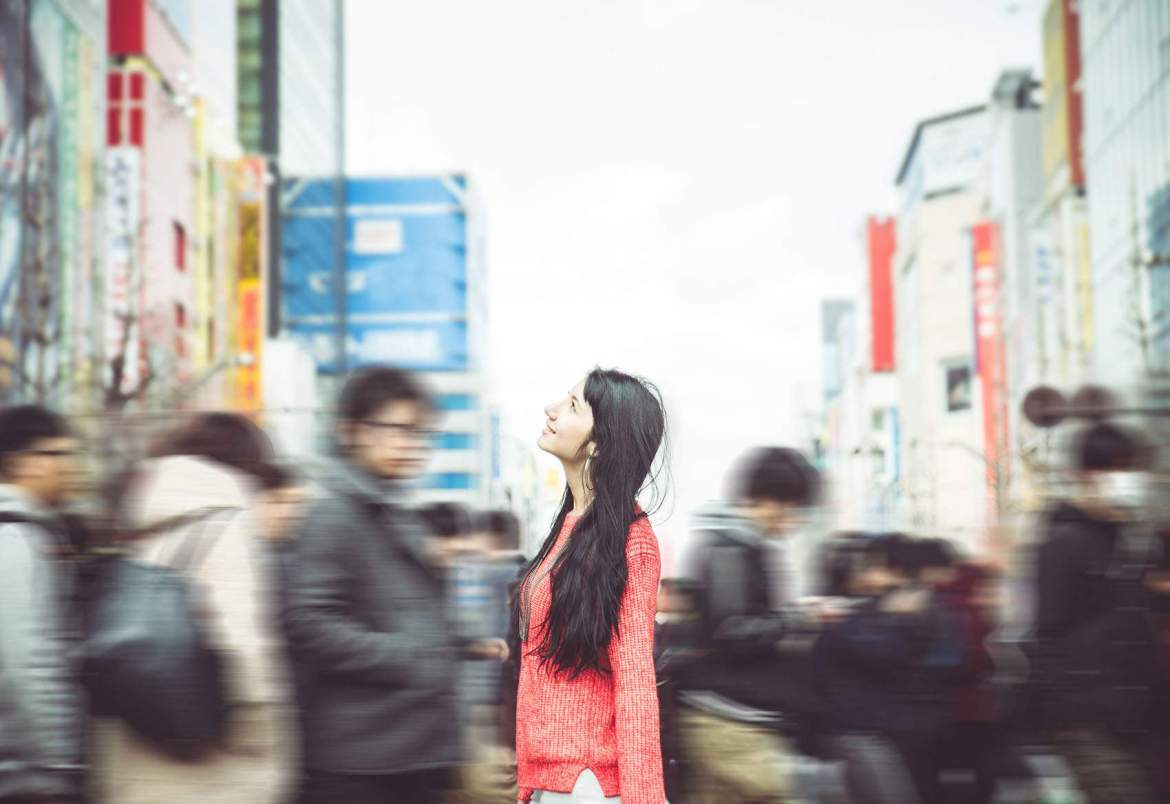 woman walking on the streets of tokyo