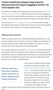 Screenshot of an article - research-informed