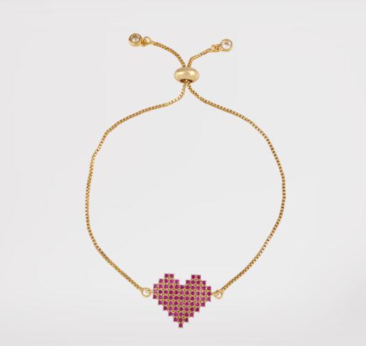 Pulsera corazón (baño de oro)