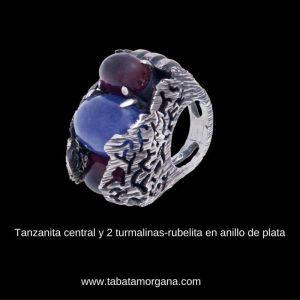 Tabata Morgana - Anillo de plata tanzanita central y 2 turmalinas-rubelitas