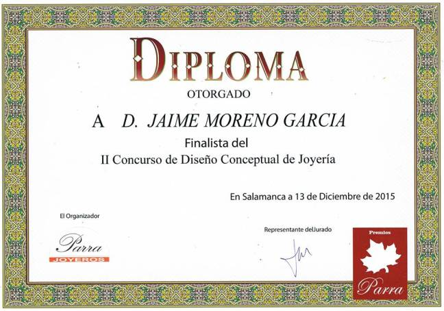 Jaime Moreno - Diploma II Concurso de Diseño Conceptual de JOYERÏA