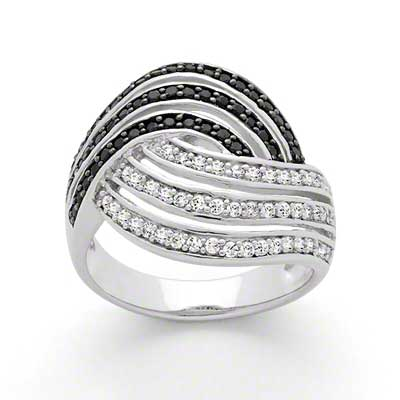 Anillo de Plata Bi Color – Negro y Blanco