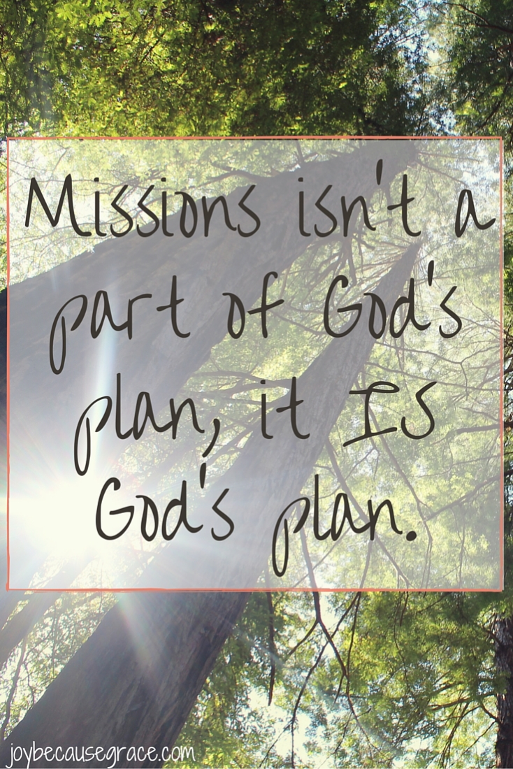 Missions isn't a part of God's plan, it IS God's plan.