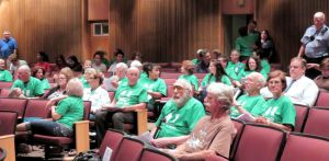Green shirts in city council chambers