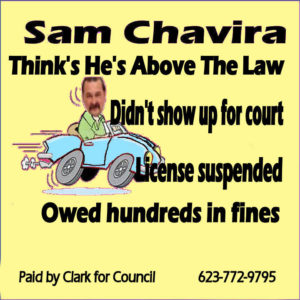 Chavira speeding campaign sign LT YELLOW June 6 2016