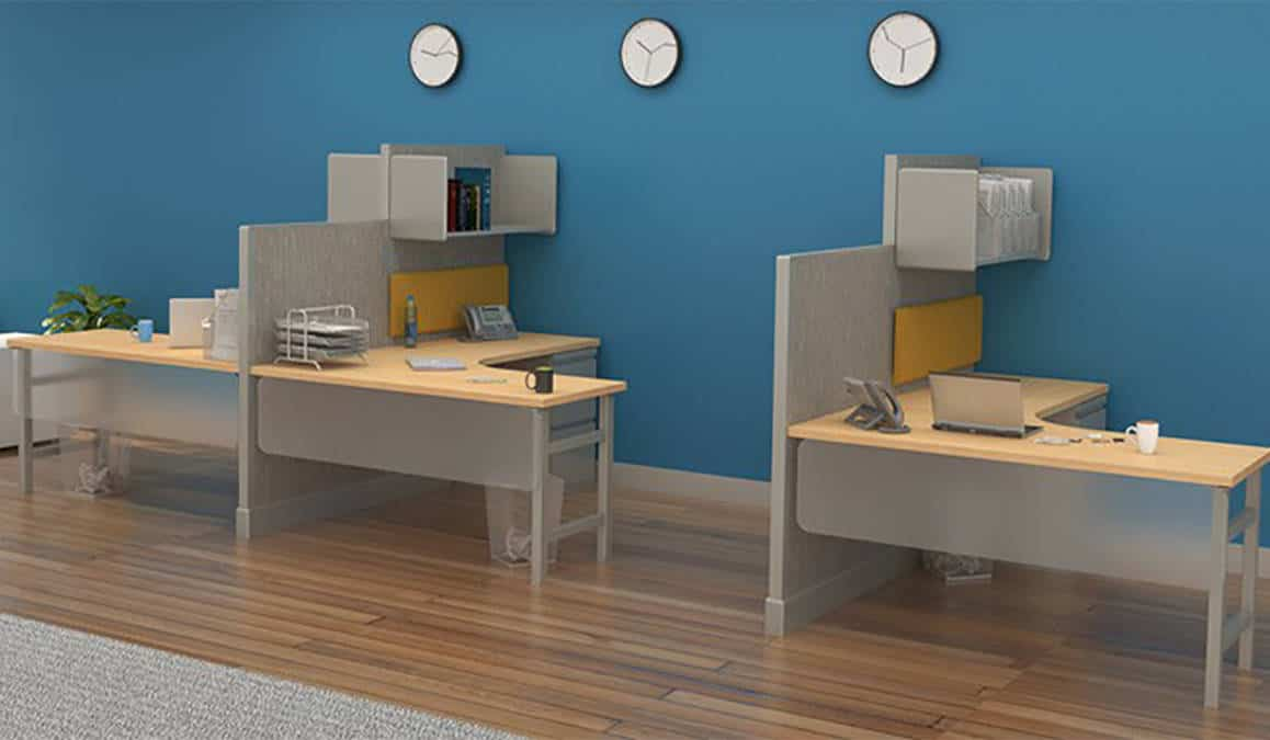 office lobby chairs grey crushed velvet bedroom chair semi-private cubicle workstation with high-low privacy divider | joyce