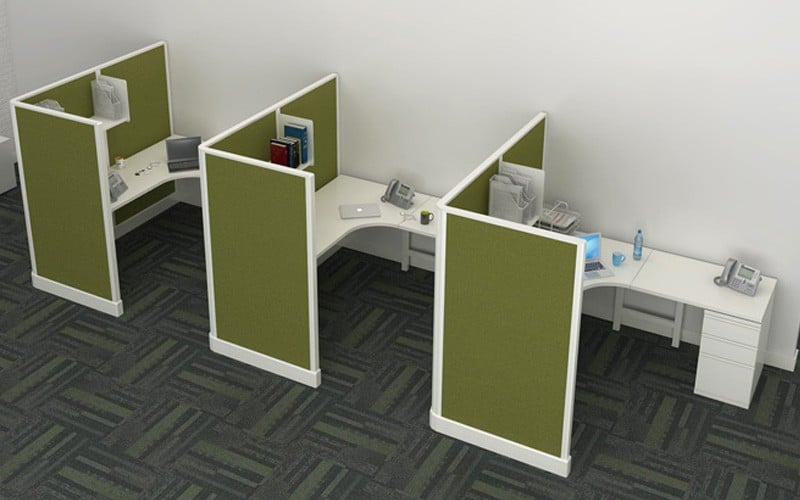"""6' x 6' Modern Cubicles With 67""""H Privacy Screen Panels"""