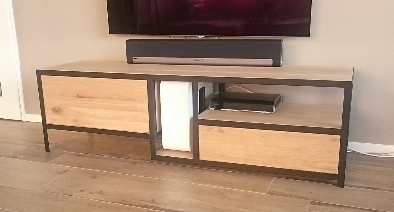 Tv Kast Staal.Kast Tv Hout Tv Kast 120 Cm Breed Tvmeubel Van Cm Breed With Tv