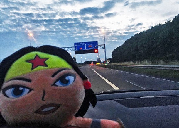 wonder woman on the road