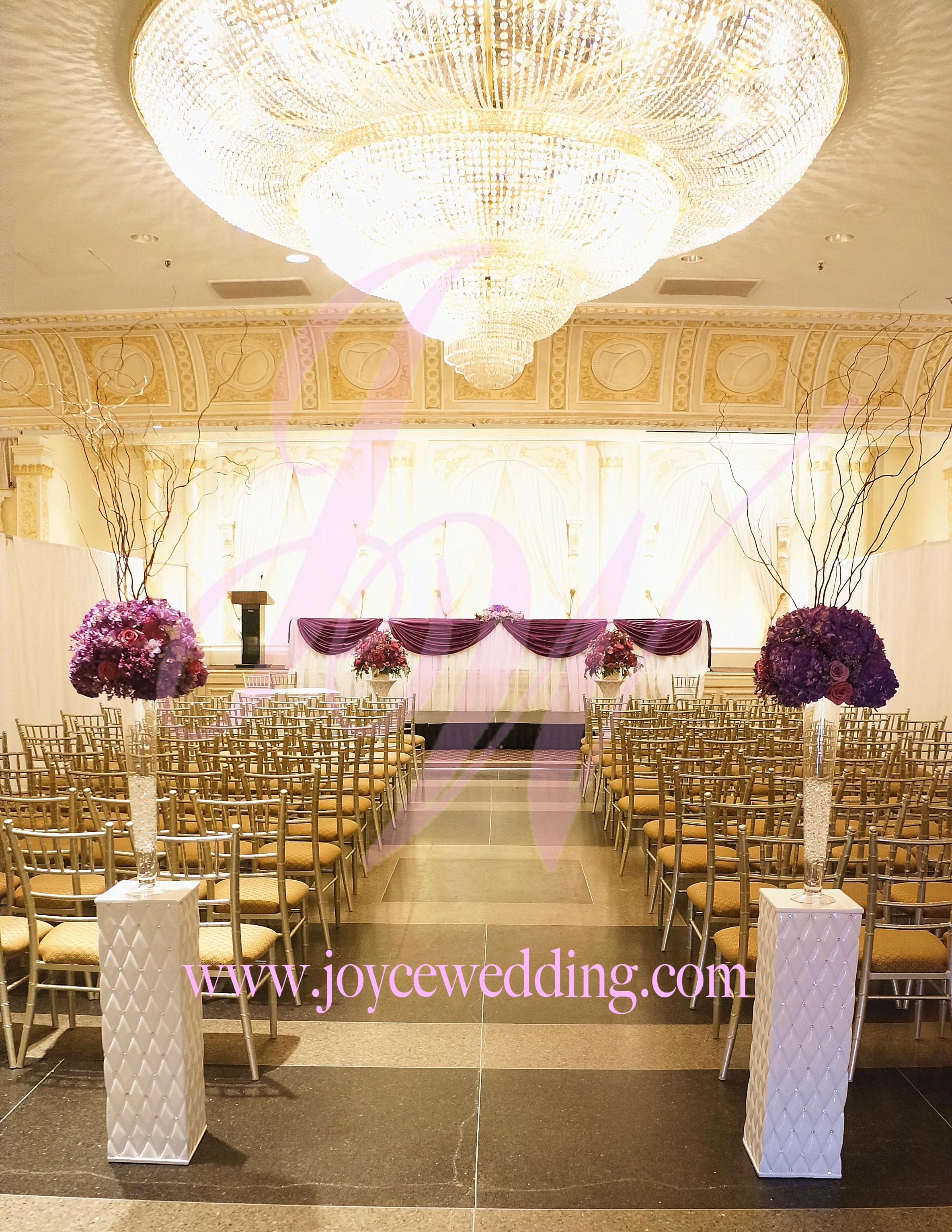 Ceremony decor modern elegance with royal purple
