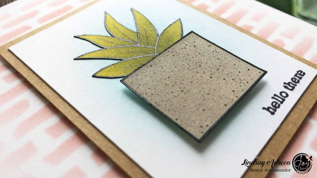 Adding dimensional adhesive to certain parts of digital stamps is a great way to add interest to a very simple card!