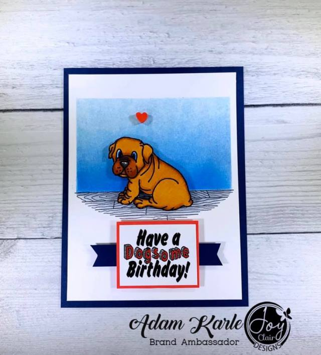 Animal stamped card with Puppy Love stamp set by Joy Clair