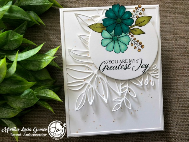 White stamped card with a branch of die cut leaves and digital flowers colored with markers