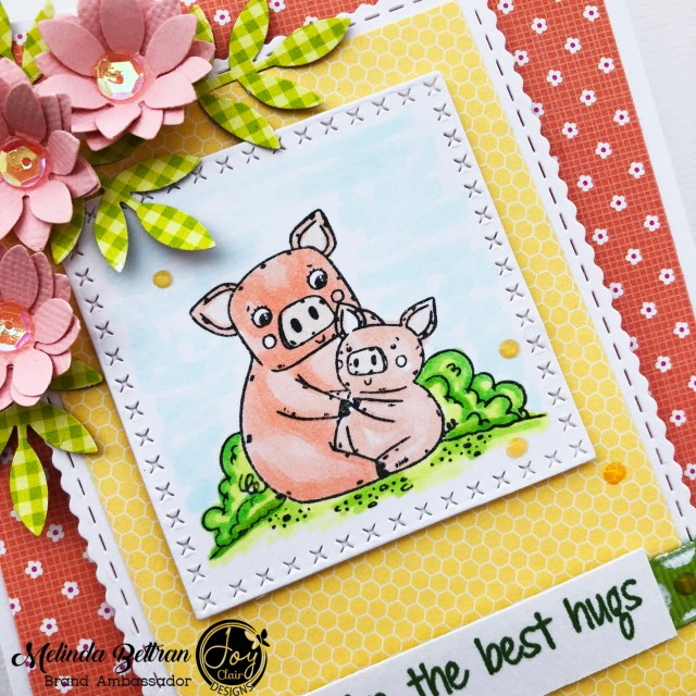 This DIY mother's day card is easily colored with markers and pencils. It has a Piggy mom image with son that is die cut with a square die.