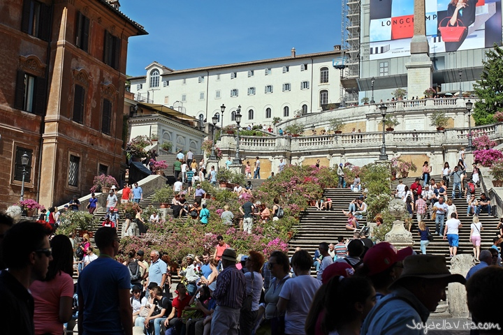 Spanish Steps in May with Flowers