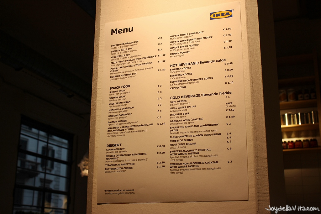 Menu at IKEA Temporary Milan