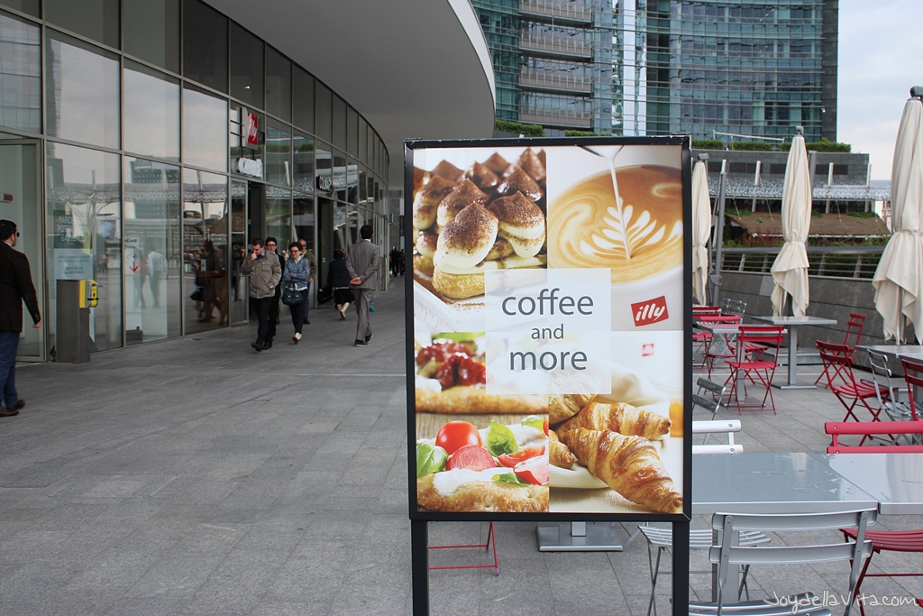 Outside illy Cafe Milano at Piazza Gae Aulenti