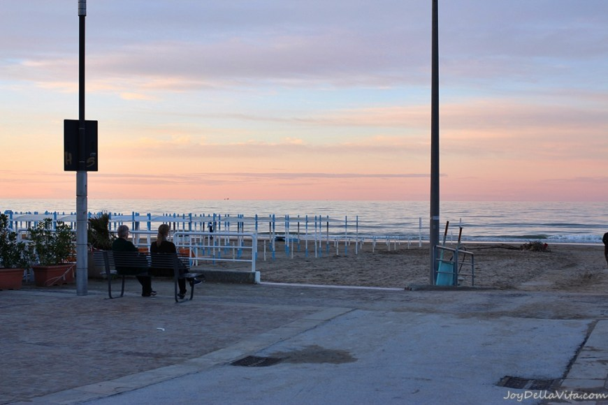 Sunset at the beach of Riccione