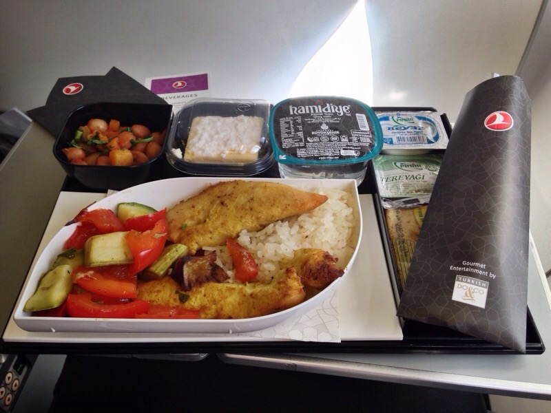 Turkish Airlines Menu Chicken with Ratatouille and Rice