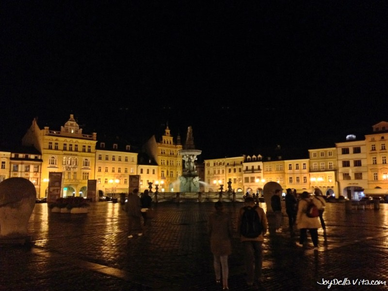 Ottokar II square in Budweis  České Budějovice at night