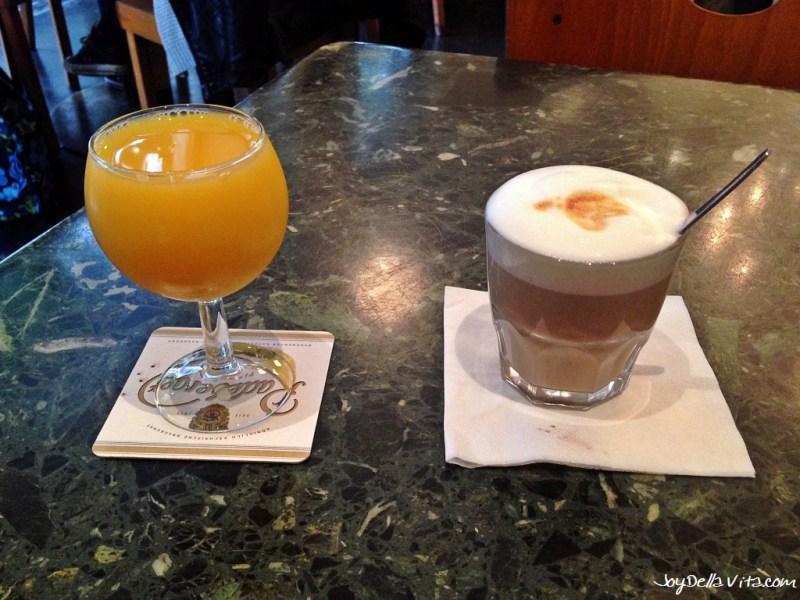 "Orange Juice and ""Karlchen"" Coffee at Cafe Karin Frankfurt"