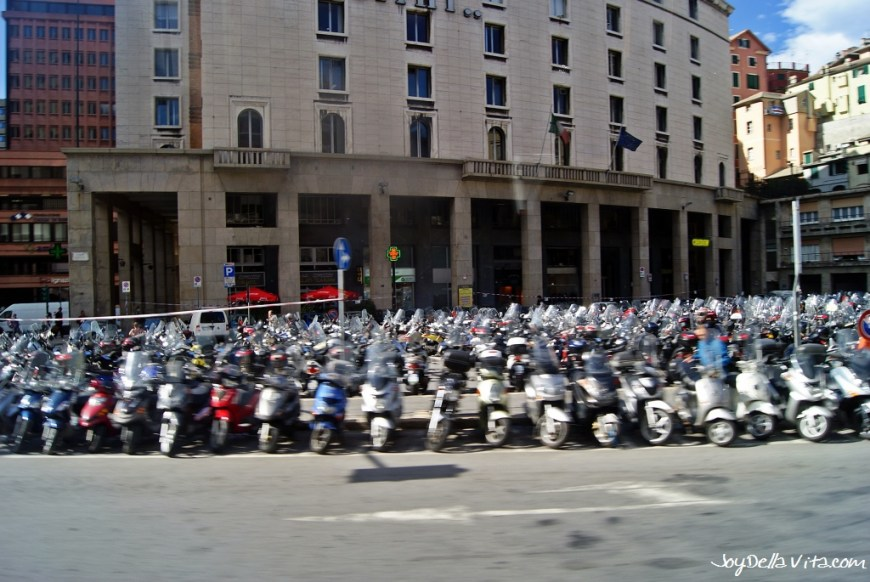 Vespas and Gilleras and Vespas and Vespas in Genoa