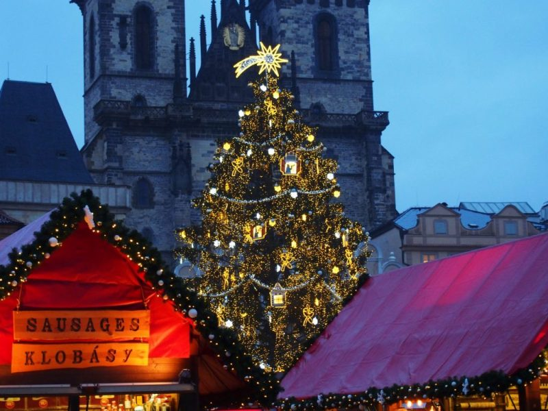 Christmas Market in Prague after Sunset, at the Old Town Square