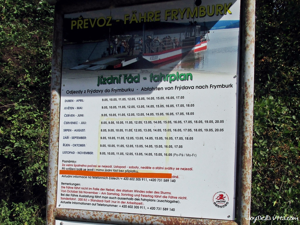 Ferry Timetable to Frymburk on Lipno Dam