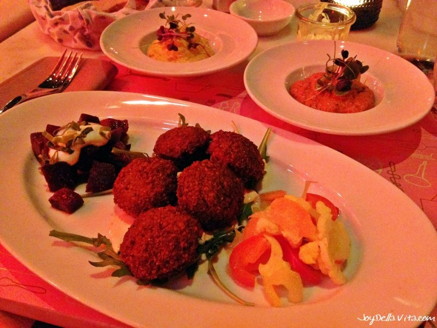 "Vegetarian ""mezze platters"" at NENI in Zurich - Curry mango hummus, Muhammara,  pickled vegetables, Falafel, beetroot with vinaigrette and horseradish JoyDellaVita Travelblog"