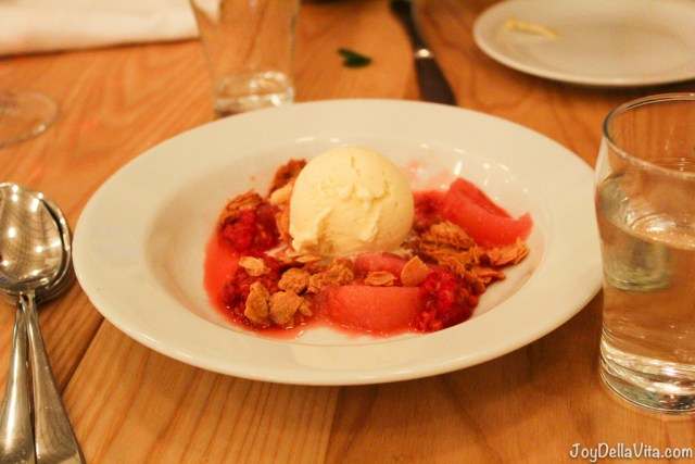 marinated red fruit, vanilla ice-cream and crumbles