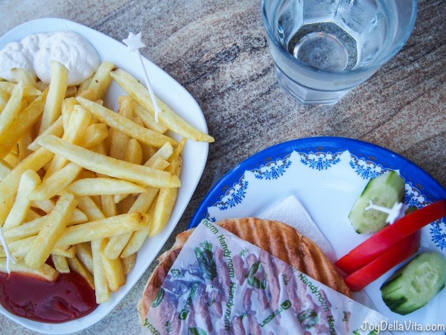 Cheese Toast with French Fries and water in Antalya