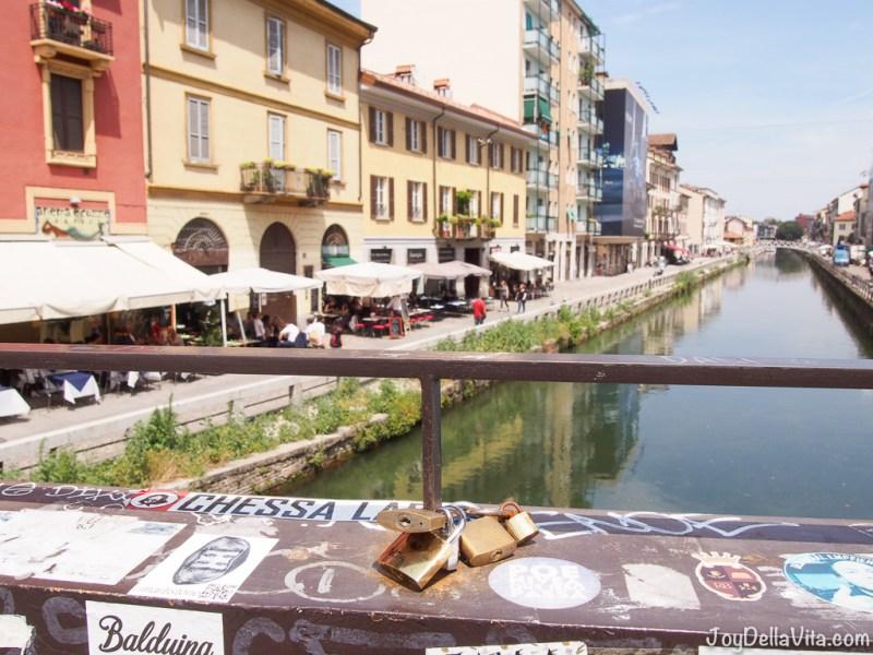 Love Locks on a Bridge over Naviglio Grande