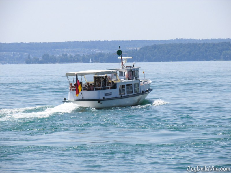 Boat on Lake Constance, towards Mainau Island