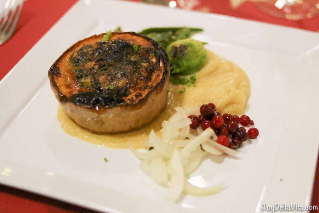 Vegetarian Main Dish: Pumpkin filled with mushroom, garden greens, root vegetable mash and lingoberries SCANDIC Bryggen Honningsvag NorthCape Norway